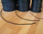 Black Cord Mix. 50ft - 15m of Waxed Cotton Cord Set: 16.5ft per thickness - 2mm, 1.5mm, and 1mm
