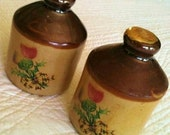 Vintage Farmhouse Chic Whiskey Jugs with Scotland Thistle and Tartan Bows, Set of Two, Olives and Doves