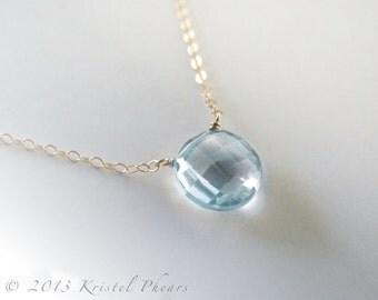 Solid 14k Gold Sky Blue Topaz necklace, December Birthstone, genuine gemstone, sky blue topaz solitaire statement, birthday or Gift