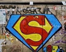 Superman Graffiti,Street Art, Paris, Photography,multiple sizes available, Superhero, Graffiti, Colorful, Primary colors, Urban