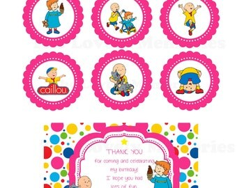 Caillou Theme Inspired Digital Invitation, Thank you card & Favor Tags in Red or Pink /Cupcake Topper