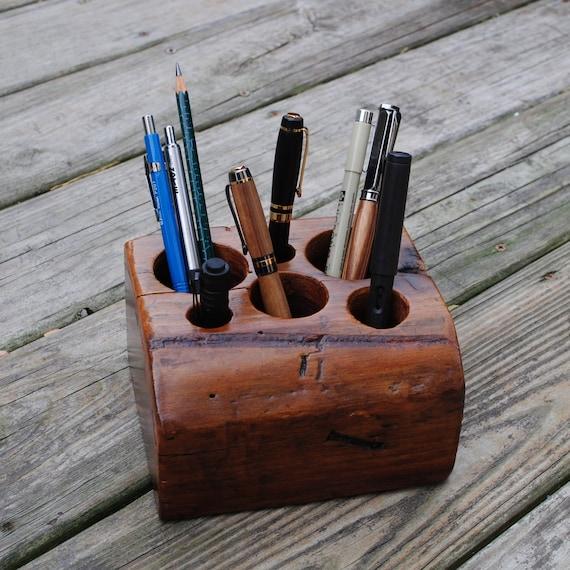 Desk Organizer- Rustic Reclaimed Walnut Barn Wood, X-Large, 6 holes