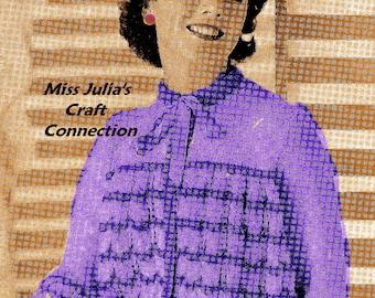 Almost FREE Vintage 1950s Two-Tone Lace Sweater Cardigan Jacket 120 PDF Digital Knit Pattern