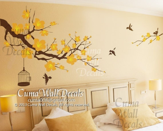 Nursery wall decal cherry blossom tree birds wall decals for Cherry blossom tree wall mural