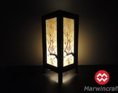 Asian Oriental Japanese Sakura Tree Branch Cherry Blossom Zen Art Bedside Table Lamp or Bedside Wood Paper Light Shades Furniture Home Decor
