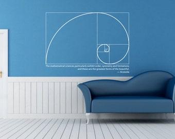 Science art mathematics Fibonacci Spiral & Aristotle quote vinyl wall decal for school university college science decor (ID: 121009)