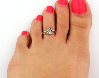 Vintage look sterling silver toe ring frog toe ring adjustable toe ring Also knuckle ring (T-28)