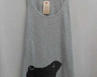 Women's Leather Pug Top Handmade Grey Cotton Tunic Vest Tank Singlet Top