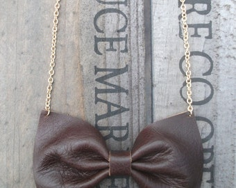 Bow Tie Necklace Handmade Using Chocolate Brown Leather