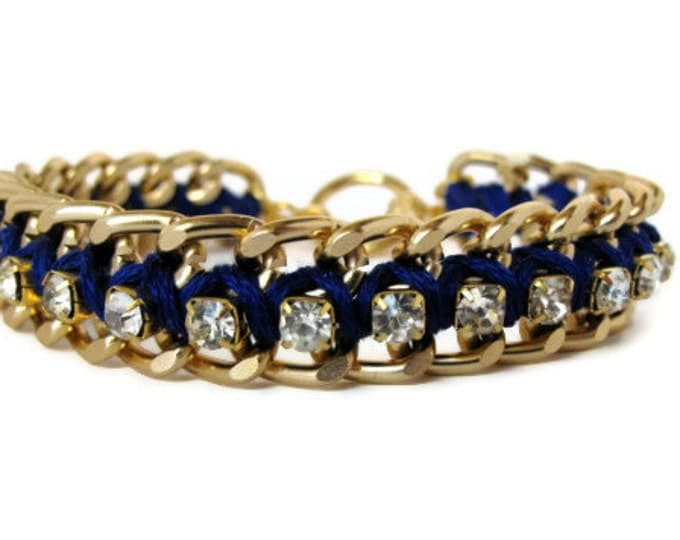 Royal Blue Gold Chain & Rhinestone Bracelet