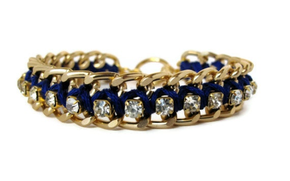 Royal Blue Gold Chain & Rhinestone Bracelet