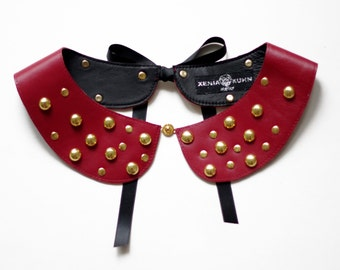Red handmade detachable studded leather peter pan collar with black satin bow