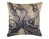 Burlap Nautical Pillow, Navy Octopus with Ship Cushion, Coastal, Jute