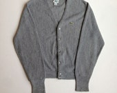 Vintage Grey IZOD Lacoste Cardigan Sweater - Medium