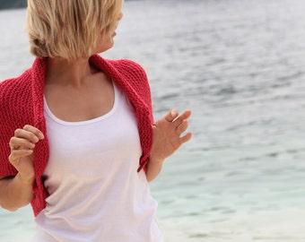 Knitting Red Shrug,Bolero with red arrow shape button