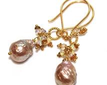Baroque Pearl Earrings Large Pearl Earrings Baroque Pearls Ethiopian Opal Earrings Rainbow Tourmaline Jewelry
