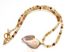 Druzy Necklace Fossilized Druzy Seashell Necklace Citrine Necklace Shell Necklace Birthstone Jewelry Beach Jewelry Ombre Jewelry FizzCandy