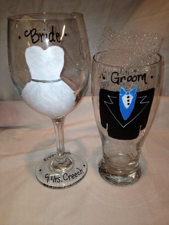 Wedding wine glasses wedding glass wedding bride and groom bride