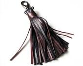 Leather Tassel, Large, Purple blue and Dark red