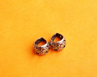 2 Sterling Silver .925, Oxidized Bails,  13.5mm X 8.6 mm,  Fancy and Elegant with Swirls, SB310