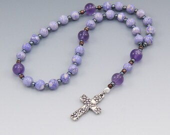 Anglican Prayer Beads - Women's Rosary - Purple Stone & Amethyst - Christian Gifts - Mothers Day Gifts - Item # 780