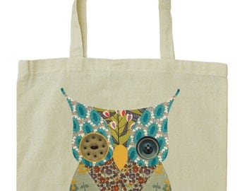 Cute owl cotton tote bag, vintage fabric and button design