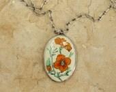 Vintage California Golden Poppy Cloisonne Sterling Silver Pendant