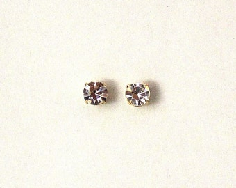 Men's Magnetic 3, 4, and 4.5 MM Round Setting Swarovsky Crystal Earrings
