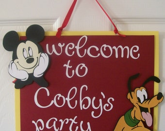 Birthday Party Welcome Sign - Disney Birthday Door Sign - Disney Birthday Decorations -Mickey Mouse Birthday