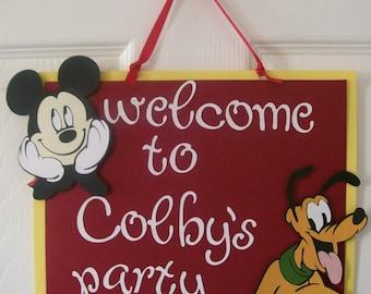 Birthday Party Welcome Sign - Disney Birthday Door Sign - Disney Birthday Decorations -Mickey Mouse Birthday