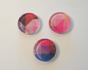 Colorful geometric round glass fridge magnets - set of 3 - red, pink, blue