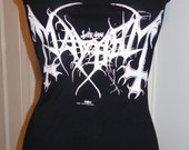 MAYHEM black metal heavy metal band shirt halter top DIY reconstructed black made to order to your size for fans of burzum watain emperor