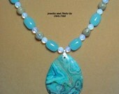 Beautiful blue CRAZY LACE Agate pendant necklace - N092