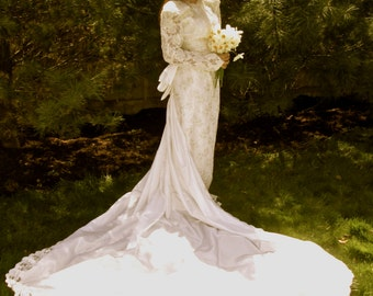 "Stunning -- Intricately Beaded Vintage Satin ""Demetrios"" Wedding Gown with Train"