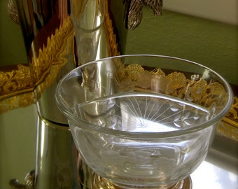 Vintage Etched Glass Divided Compote Dish with Sterling Silver Base