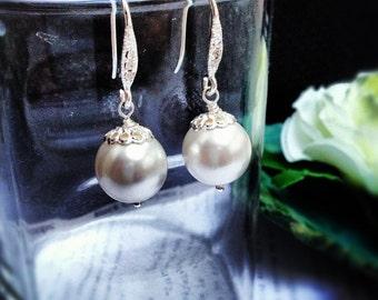 Bridal Pearl Earrings, Bridesmaid Earrings, Pearl Earrings, Bridesmaids Earrings, Swarovski Pearl Earrings, Bridal Jewelry, 12mm pearl