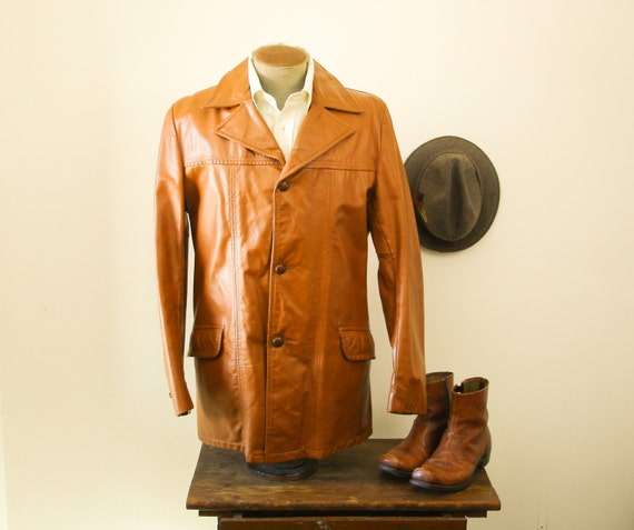 70s Mens Leather Car Coat Vintage Chestnut Brown Heavy Genuine