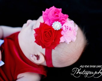 Valentines Day Pink and red Shabby Flowers Red elastic Headband, Baby to Toddler Headband, Valentines day Photo Prop.