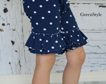 Knee length ruffled shorties in Nautical navy and white polka dots from GreenStyle
