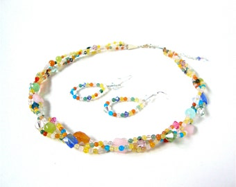 Colorful braided necklace - small bead necklace - yellow orange blue twisted necklace - small jade bead necklace by Sparkle City Jewelry