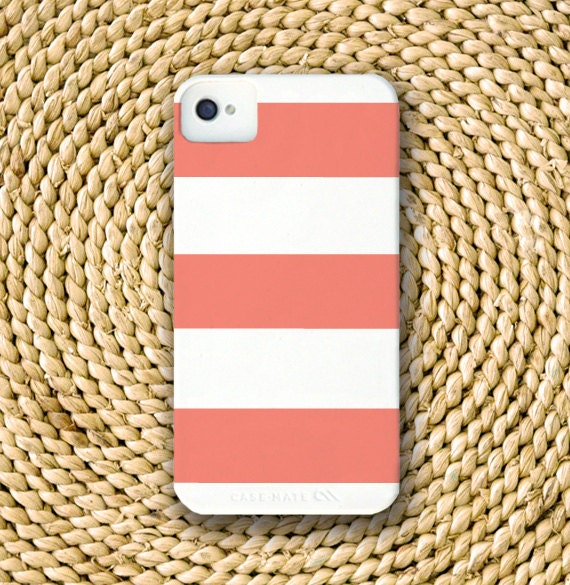 SALE Wide Stripe Barely-There Snap-On Hard Plastic iPhone 4 Case in Coral (In Stock & Ready to Ship)