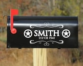 Texas Star & Swirl Vinyl Mailbox Decal with Personalized Name and Address