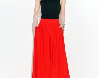 Red Palazzo Pants - Elegant Wide-Legged Long Chiffon Culottes Trousers Party Eveningwear Women's Pants (C118)