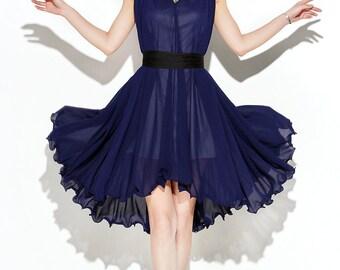 Maxi Dress Unique Loose fitting Long Vest Sundress Summer Dress in Deep Blue for Women C104