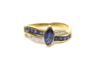 14K Yellow Gold Natural Sapphire and Diamond Ring - Size 6.5 -