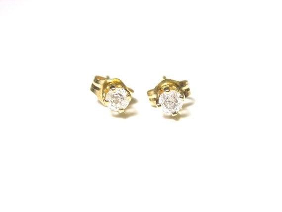 Reserved 14k Yellow Gold Stud Diamond Earrings Pierced