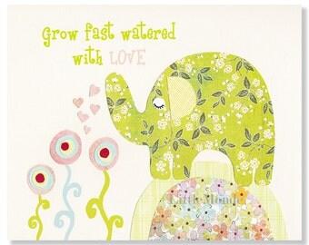 Quote Print, Baby Girl Nursery Prints, Nursery Art, Elephant Print, Green Nursery Prints, Nursery Wall Art, Toddler Girl Decor, Baby Art