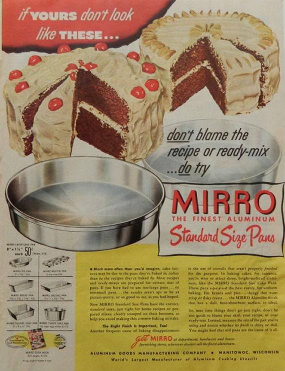 Vintage Mirro Cake Pan Ad 1950s Bakeware Chocolate Cherry