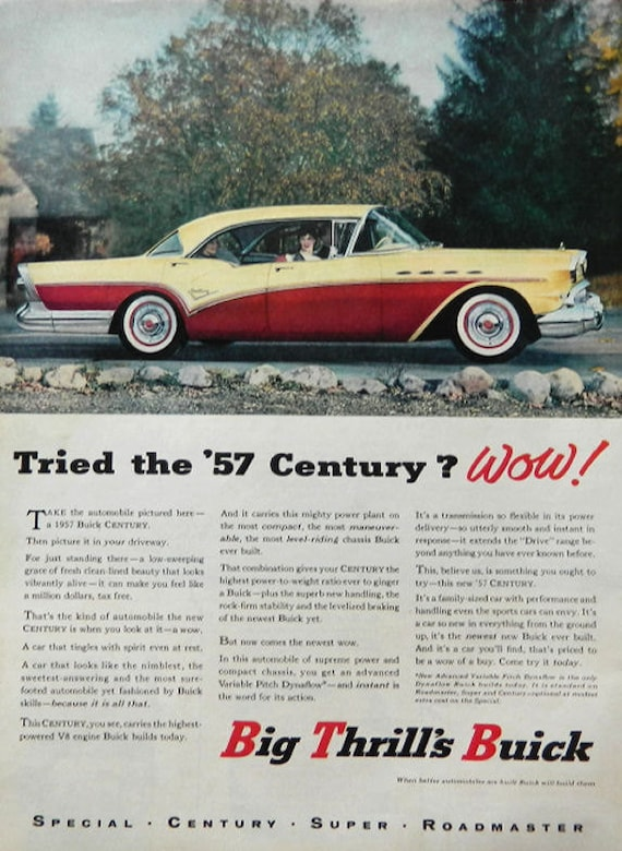 Vintage Buick Century Ad - 1957 Wall Art or Car Collectible
