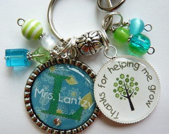 Teacher gift keychain tree personalized, childrens name, nana, mom, gift, present, big sister, aunt, teacher,thanks for helping me grow